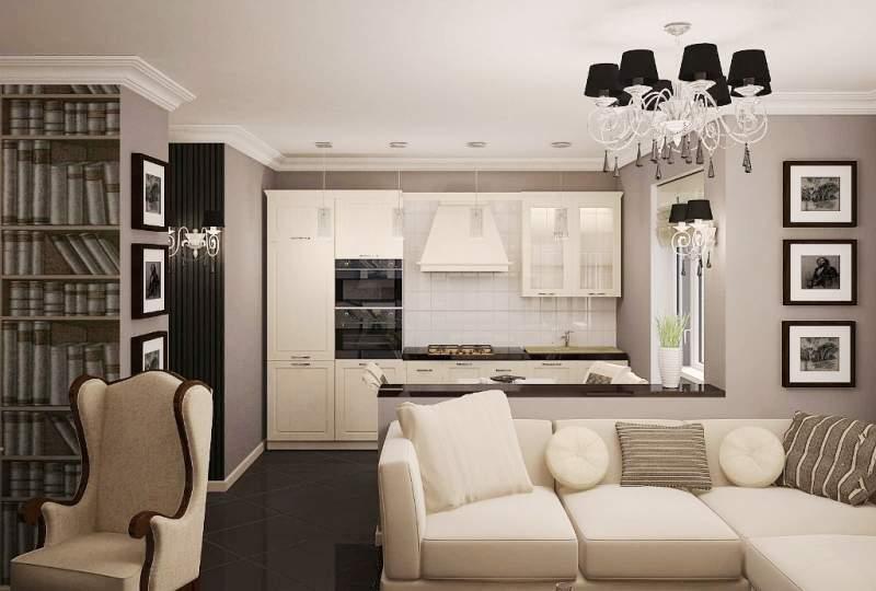 Дизайн интерьера гостиной и кухни фото
