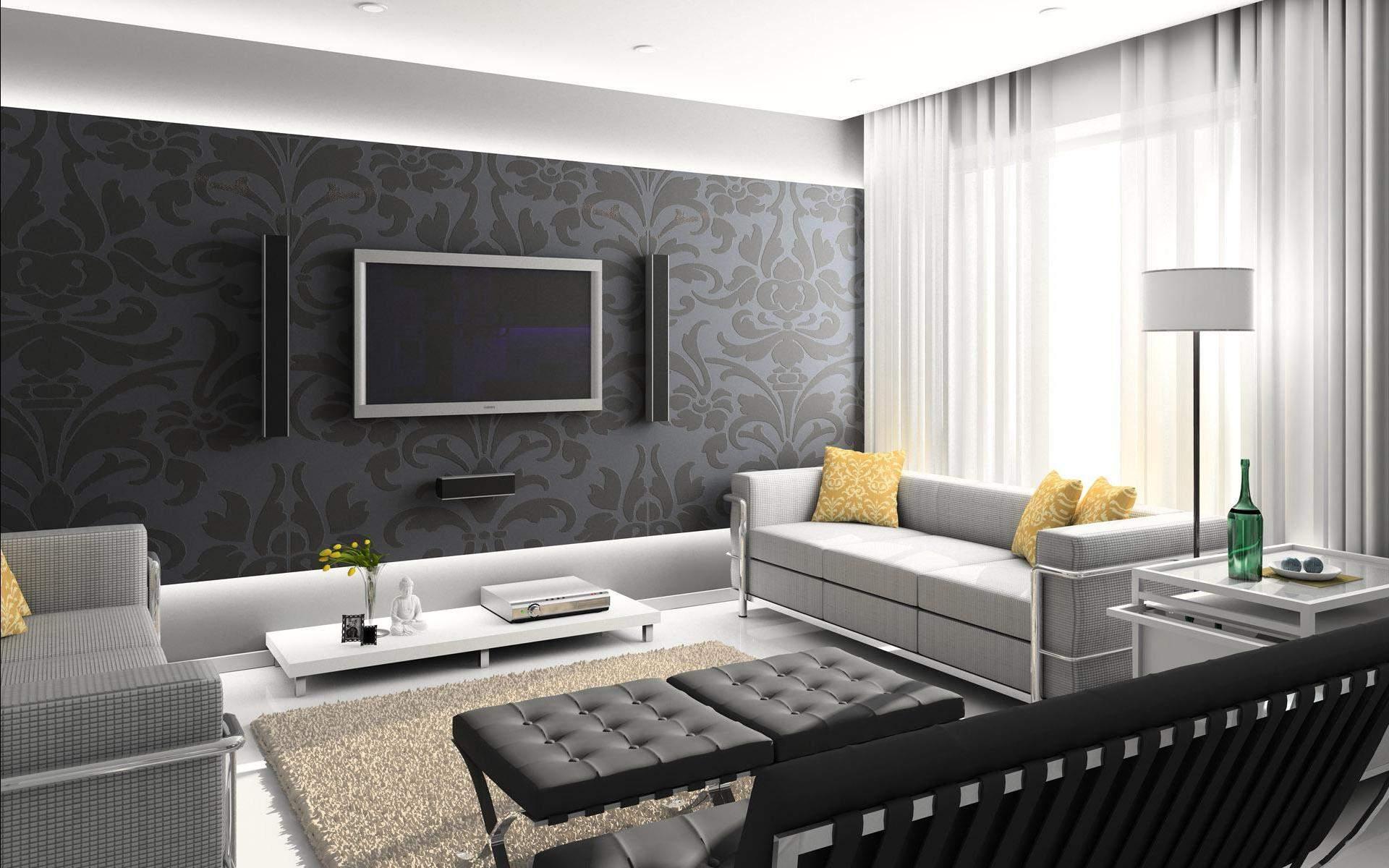 Фото дизайн зала собоями
