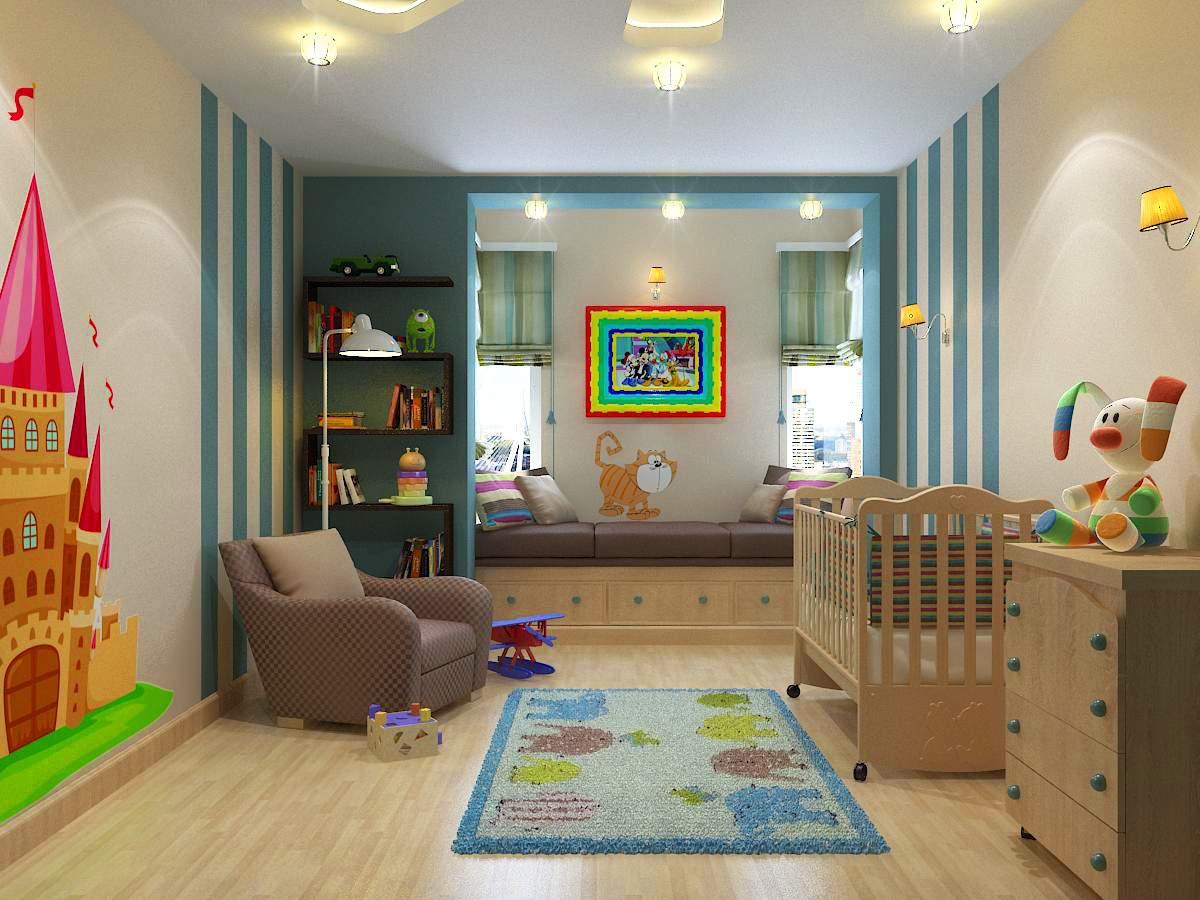 Дизайн интерьера стильной детской.