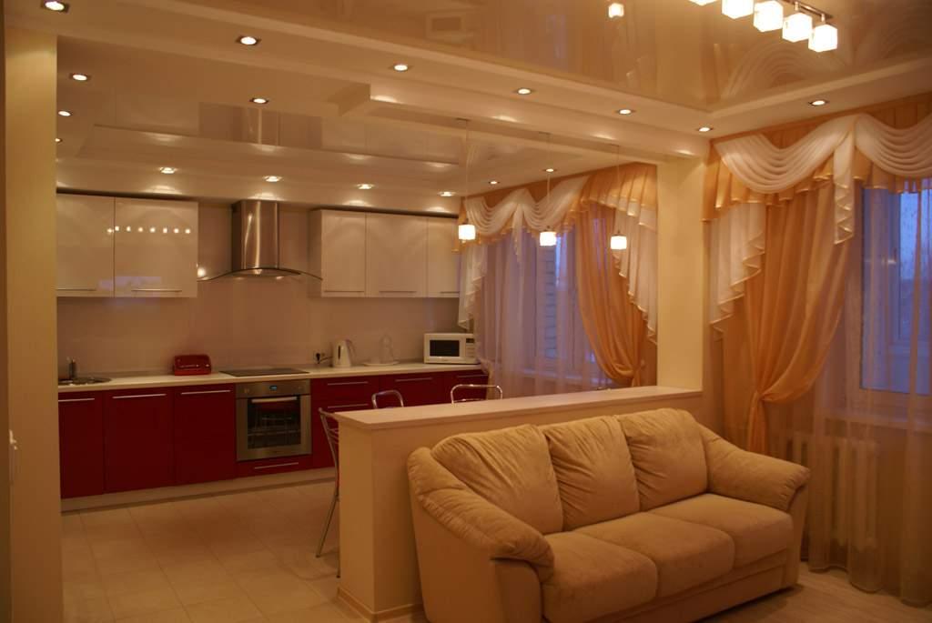 фото дизайн зала с кухней