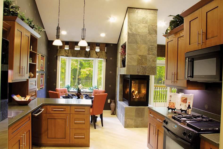 Кухня гостиная с камином фото