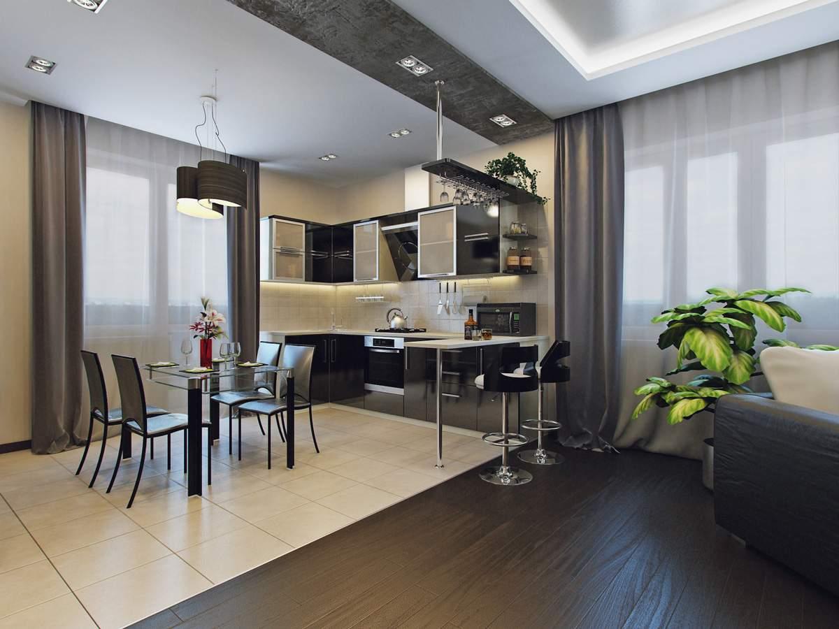 Кухня гостиная 25 метров дизайн