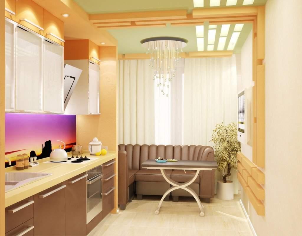 Дизайн небольшой квартиры с совмещенным балконом.