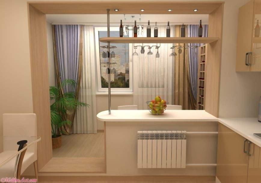 Объединение кухни с балконом дизайн