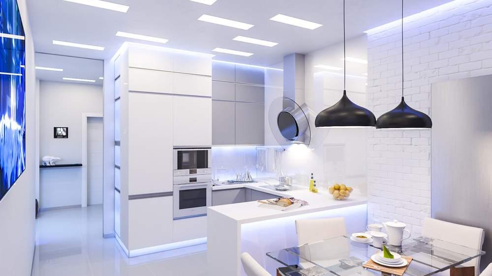 Интерьер современной кухни #64