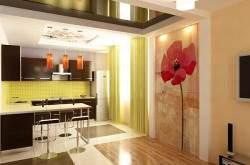 Дизайн кухни студии 25 кв м фото