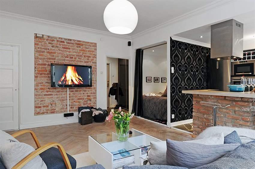 Дизайн квартиры студии 42 кв м фото