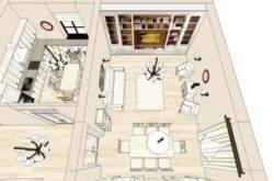 Эскизный дизайн-проект гостиной коттеджа - портфолио дизайнера интерьера в Минске