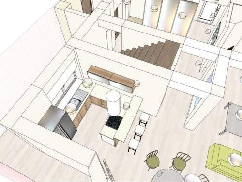 Дизайн-проект интерьера дома Минск - п-образная кухня с окном