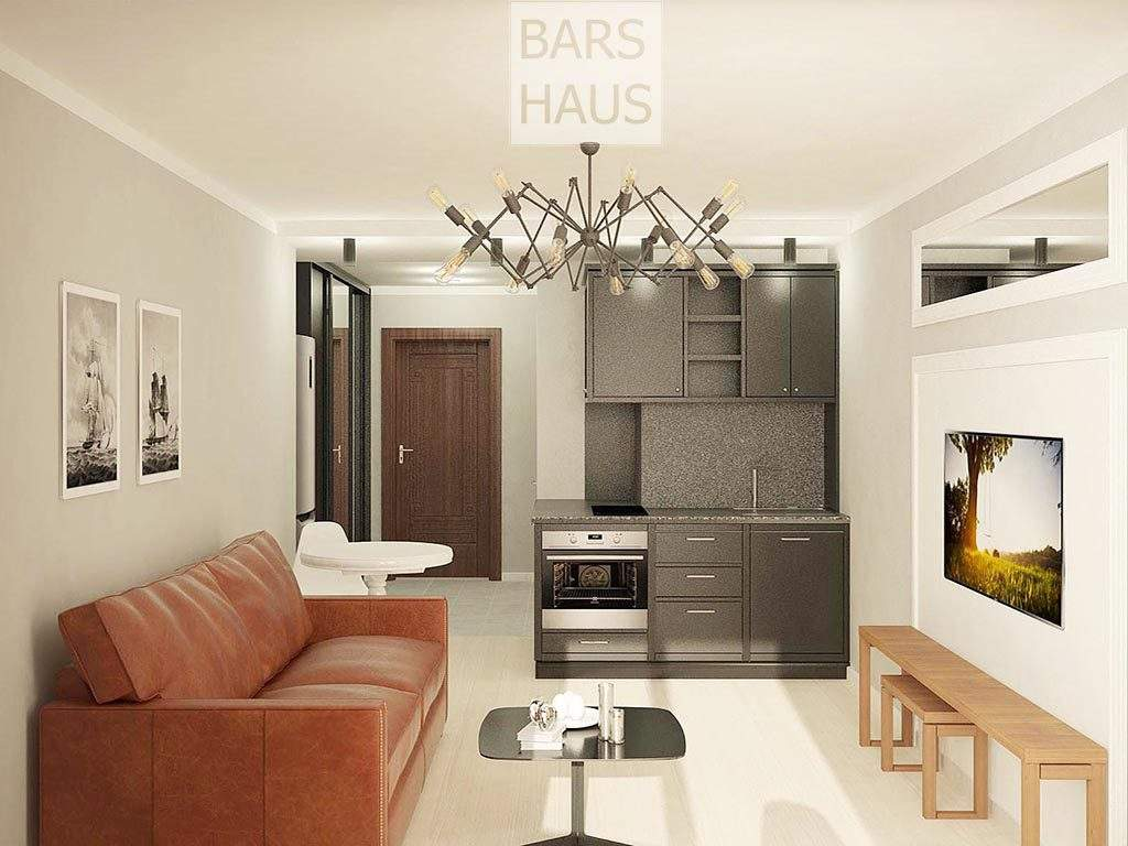 Дизайн интерьера квартиры-студии 28 м2 в Минске на Гурского, 43