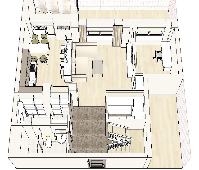 Эскизный дизайн-проект 2 уровневой квартиры, ул.Чюрлениса, Минск