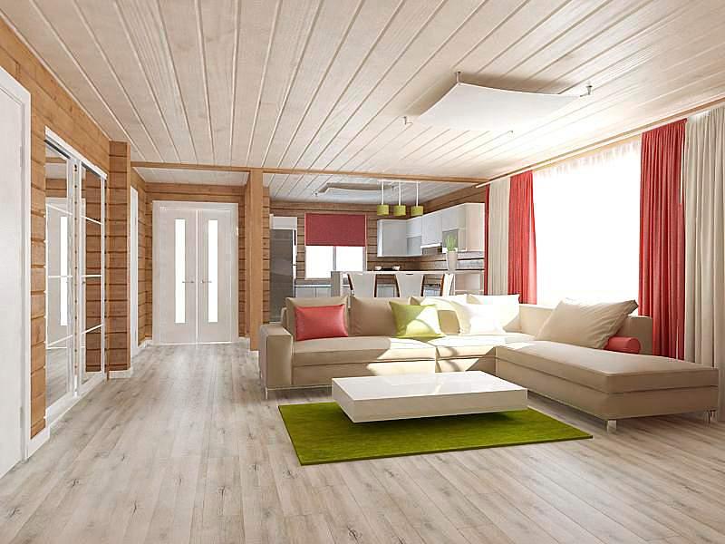 Дизайн интерьера деревянного дома, Глебковичи, Минск. район