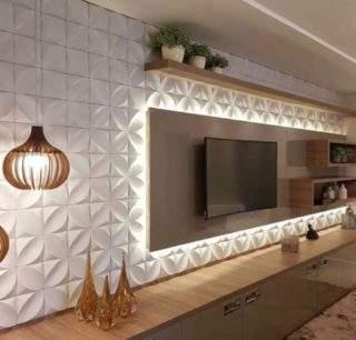 3D панели на стене с телевизором - дизайн интерьера