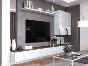 Декоративная штукатурка на стене с ТВ