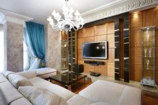 деревянные панели за телевизором - дизайн стены