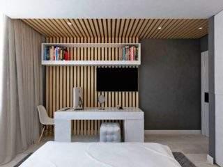 дизайн стены с телевизором - деревянные рейки
