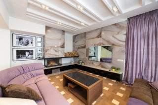 дизайн стены с телевизором - керамическая плитка в гостиной