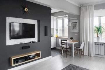 дизайн стены с телевизором - ниша