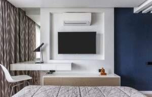 стена за телевизором дизайн с нишами