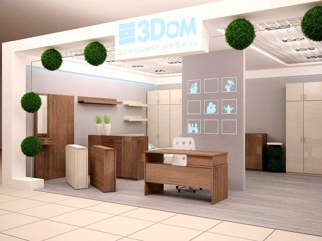Дизайн торгового павильона мебели 3Dom в Минске