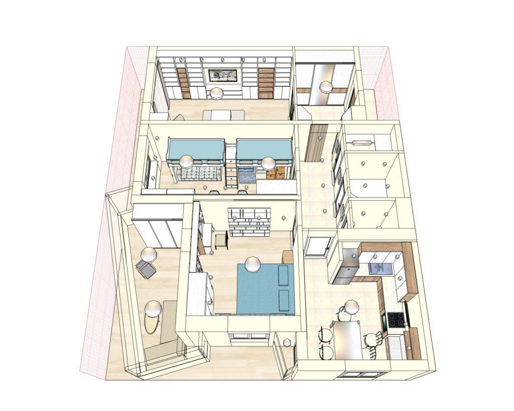 Эскизный дизайн-проект 3 комнатной квартиры, Уручье, ул. Скорины