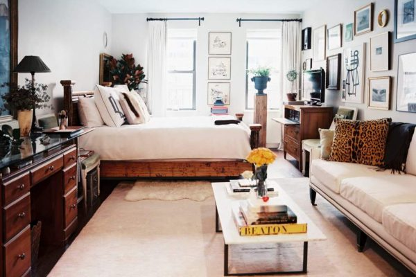 спальня и гостиная в 1 комнате