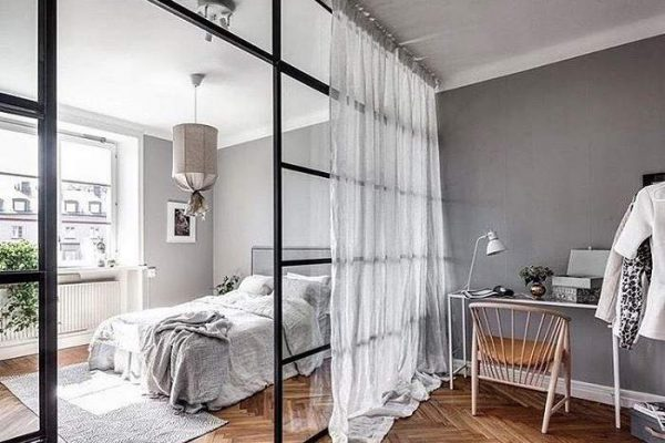 спальня и гостиная в 1 комнате - перегородка