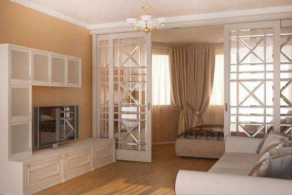 классическая перегородка между спальней и гостиной