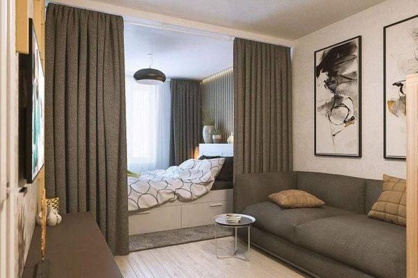 перегородка штора между спальней и гостиной